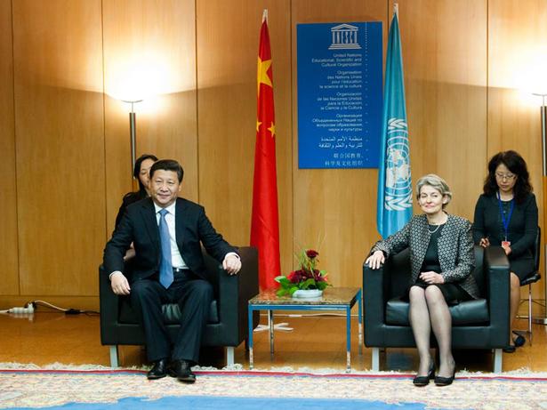 Xi Jinping, Presidente de la República Popular de China e Irina Bokova, directora general de la UNESCO. Foto: © UNESCO/Nora Houguenade