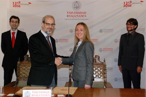 Foto: Daniel Hernández Ruipérez, Rector de la Universidad de Salamanca  y María Landa Buil