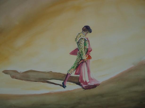 La artísta Beatriz Bartomé, presenta un cuadro con un lance taurino