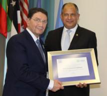 La OMT nombra al Presidente de Costa Rica Embajador Especial del Año Internacional del Turismo Sostenible para el Desarrollo
